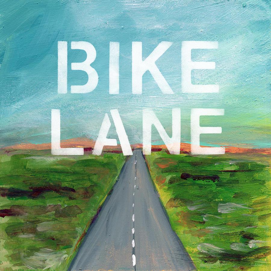 Bike Painting - Bike Lane- Art by Linda Woods by Linda Woods
