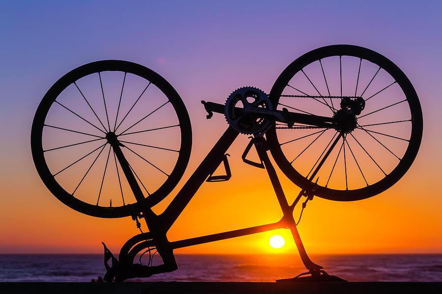 Bike Photograph - Bike On Seawall by Garry Gay