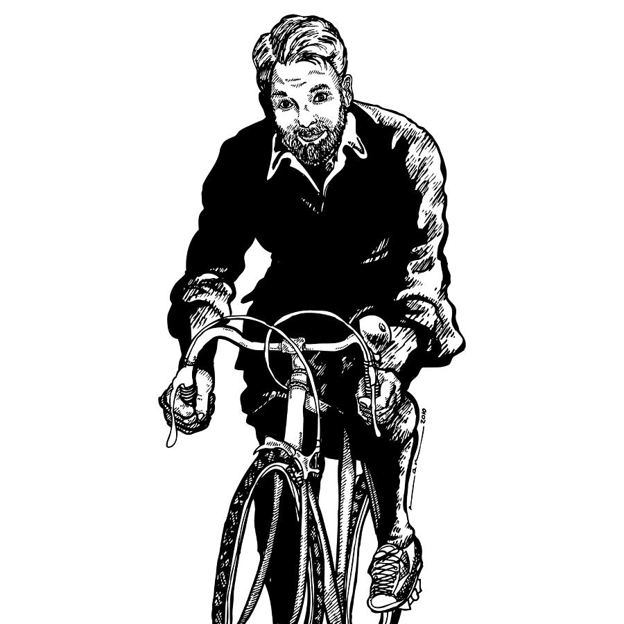 Drawing Drawing - Bike Rider by Karl Addison