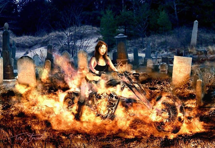 Easyrider Digital Art - Biker Chick by Tom Straub