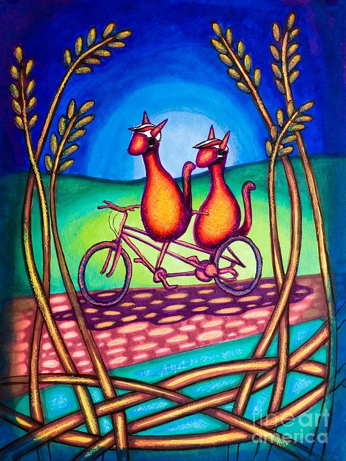 Biking Drawing - Biker Kats by Laurie Tietjen