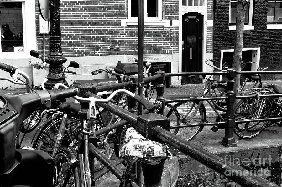 Bike Photograph - Bikes Hanging Out Mono by John Rizzuto