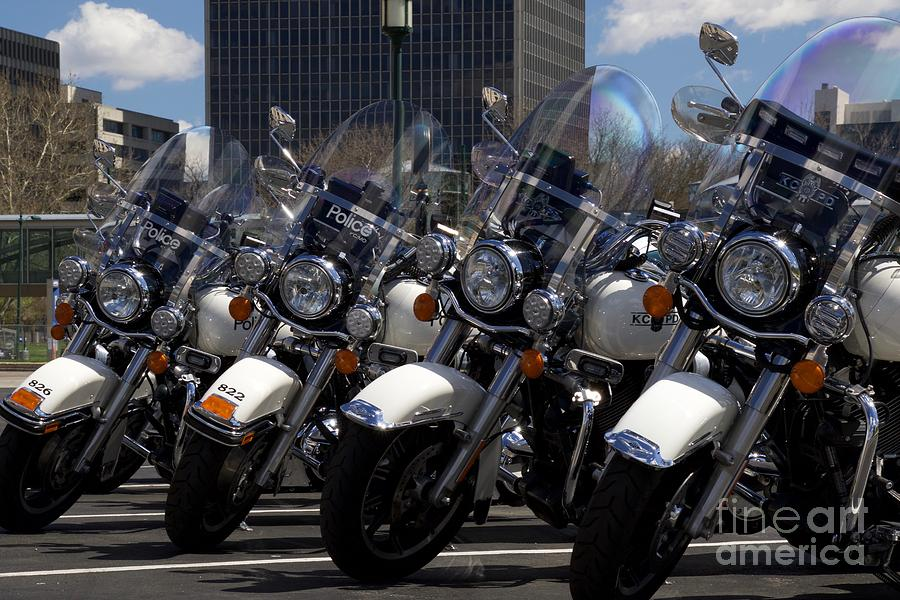 Police Photograph - Bikes In Blue by John Franke