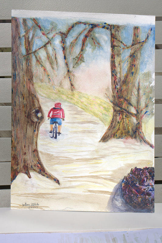 Land Scape Painting - Biking In The Woods by Jonathan Galente