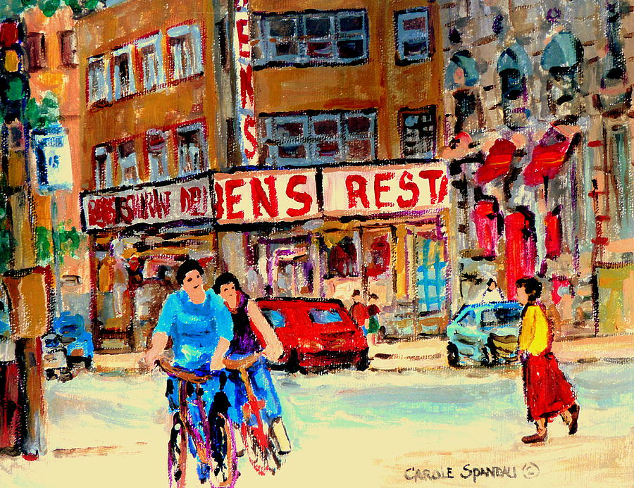 Montreal Painting - Biking  Past Ben by Carole Spandau
