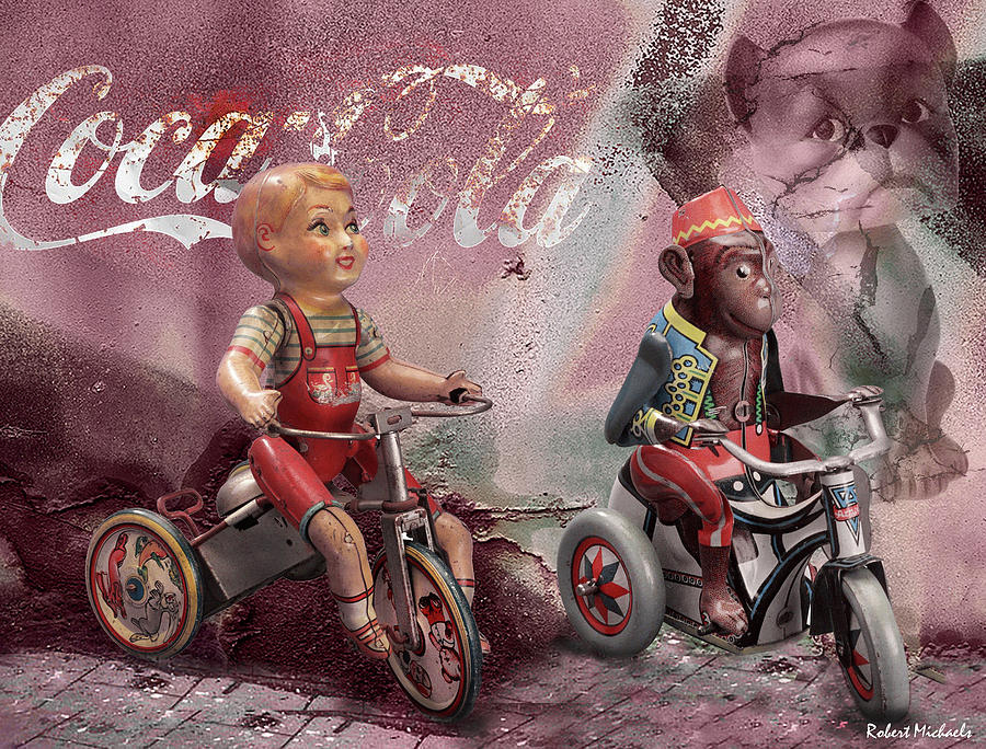 Biking With His Buddy by Robert Michaels
