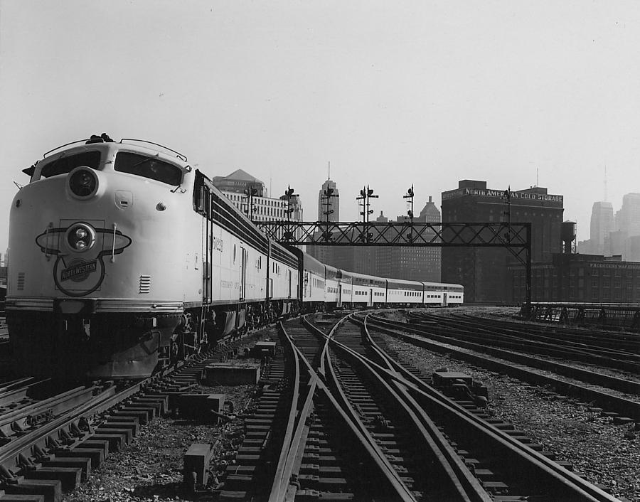 Passenger Trains Photograph - Bilevel 400 Leaving Chicago Passenger Terminal - 1958 by Chicago and North Western Historical Society