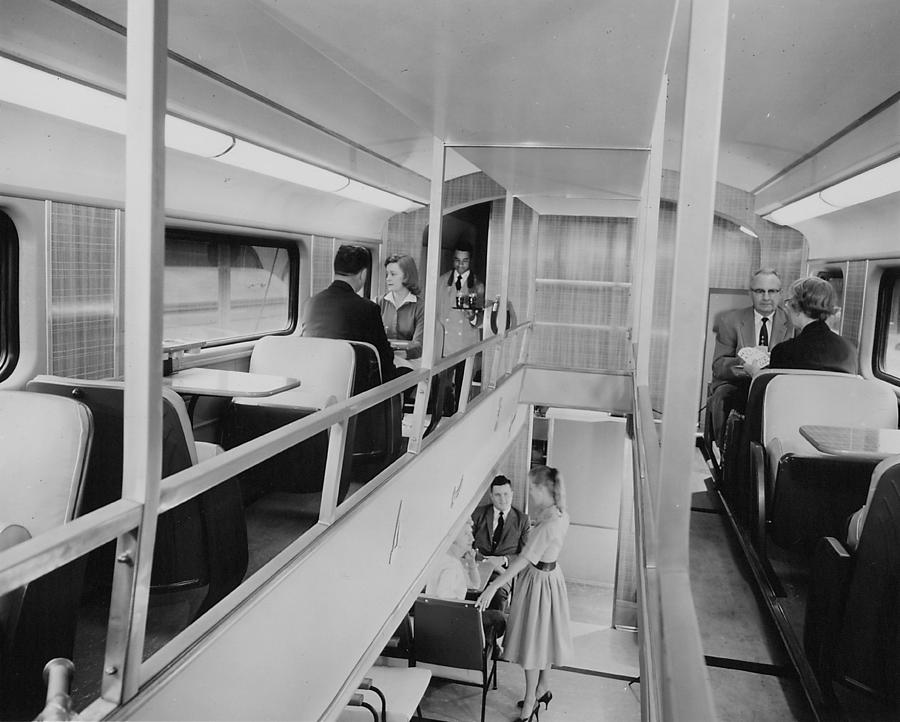 Passenger Trains Photograph - Bilevel 400 Lounge - 1958 by Chicago and North Western Historical Society