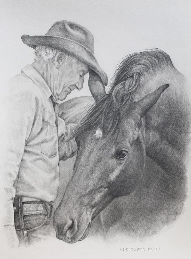 Cowboy Drawing - Bill And Jaguar by Heidi Osgood-Metcalf