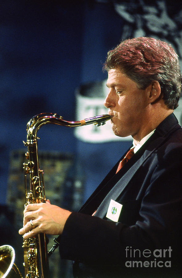 President Photograph - Bill Clinton Musician by Enid Farber