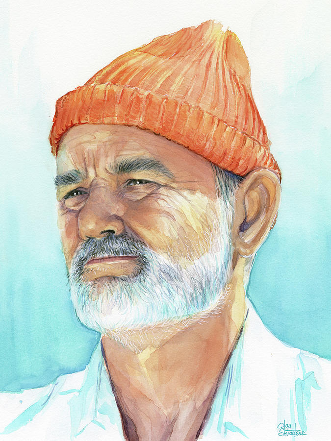 Bill Murray Painting - Bill Murray Steve Zissou Life Aquatic by Olga Shvartsur