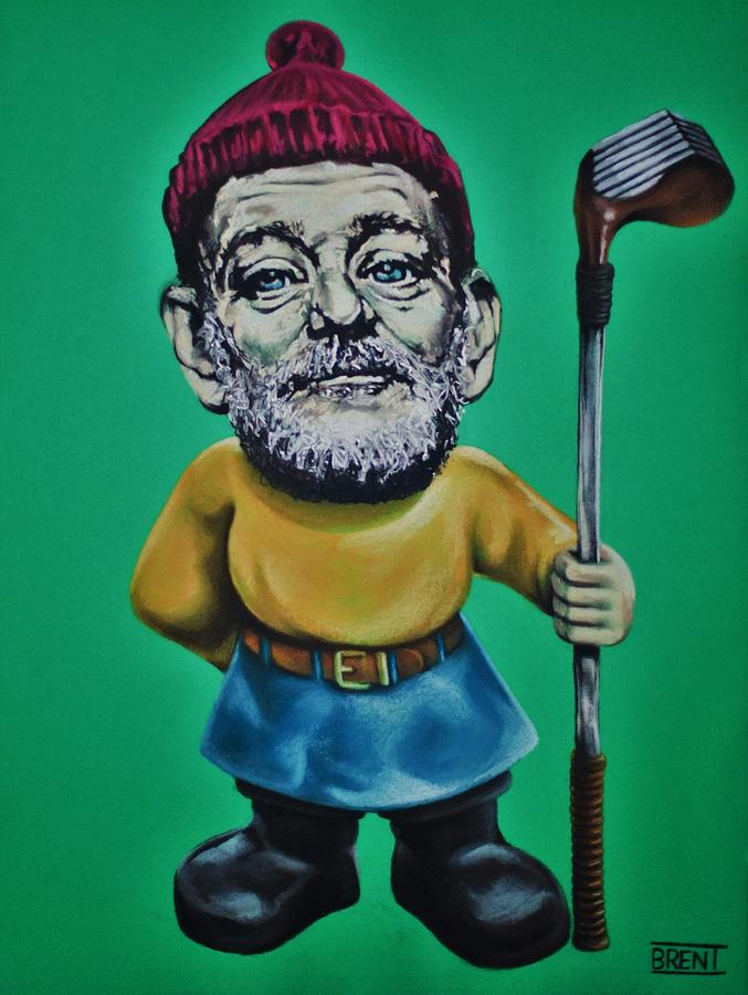 Bill Murray Drawing - Bill Murray Golf Gnome by Brent Andrew Doty