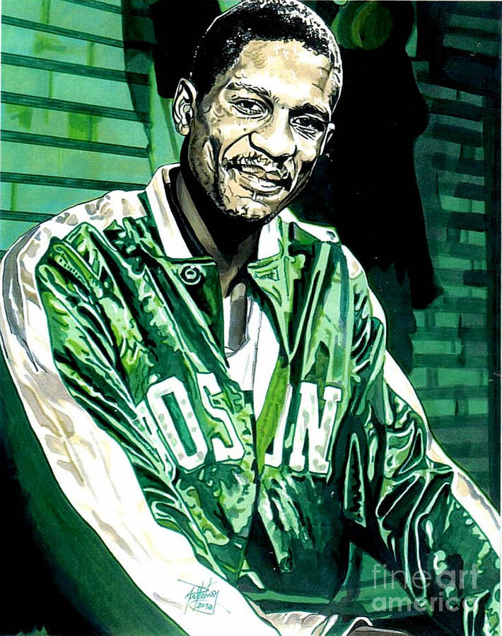 Bill Russell Drawing - Bill Russell by Neal Portnoy