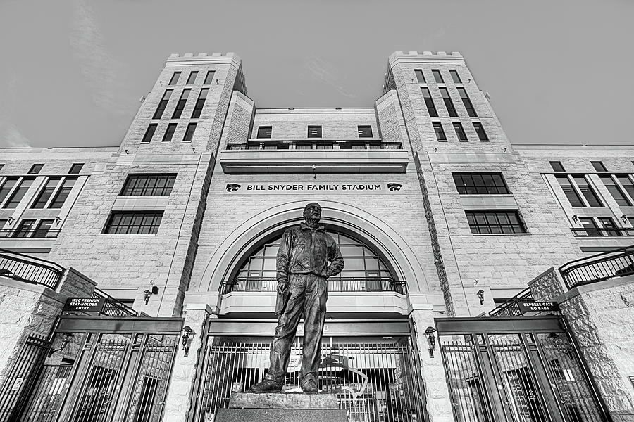 Bill Snyder Family Stadium Photograph - Bill Snyder Family Stadium In Black And White by JC Findley