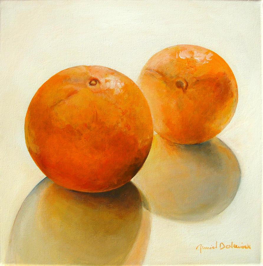 Still Life Painting - Billes Oranges by Muriel Dolemieux