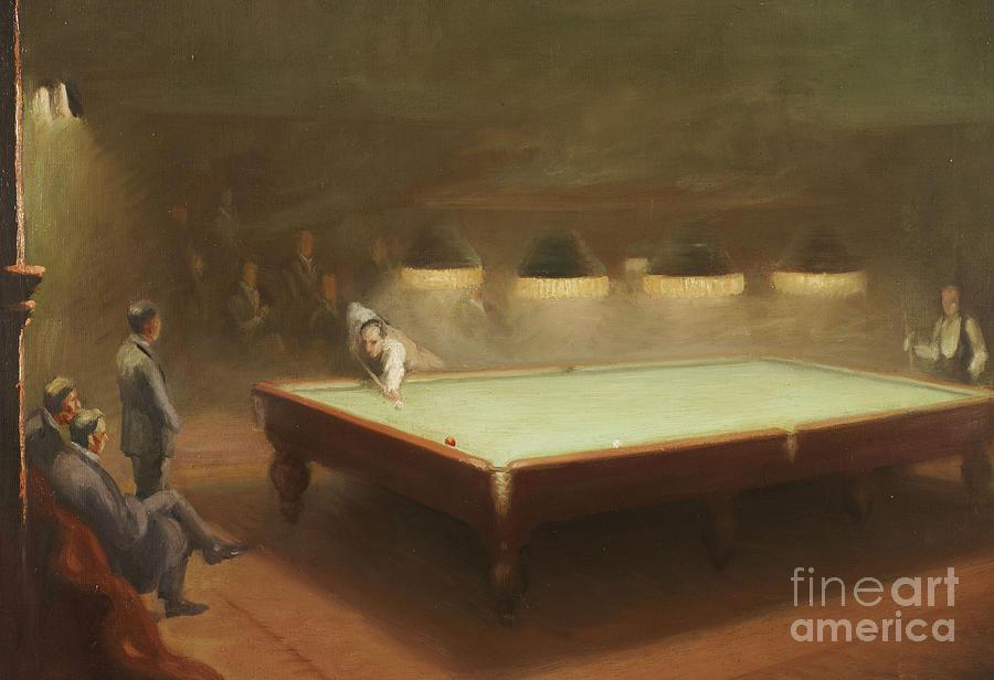 Sport Painting - Billiard Match At Thurston by English School
