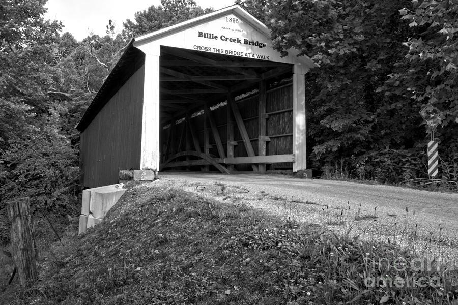 Billie Creek Covered Bridge Photograph - Billie Creek Covered Bridge Black And White by Adam Jewell
