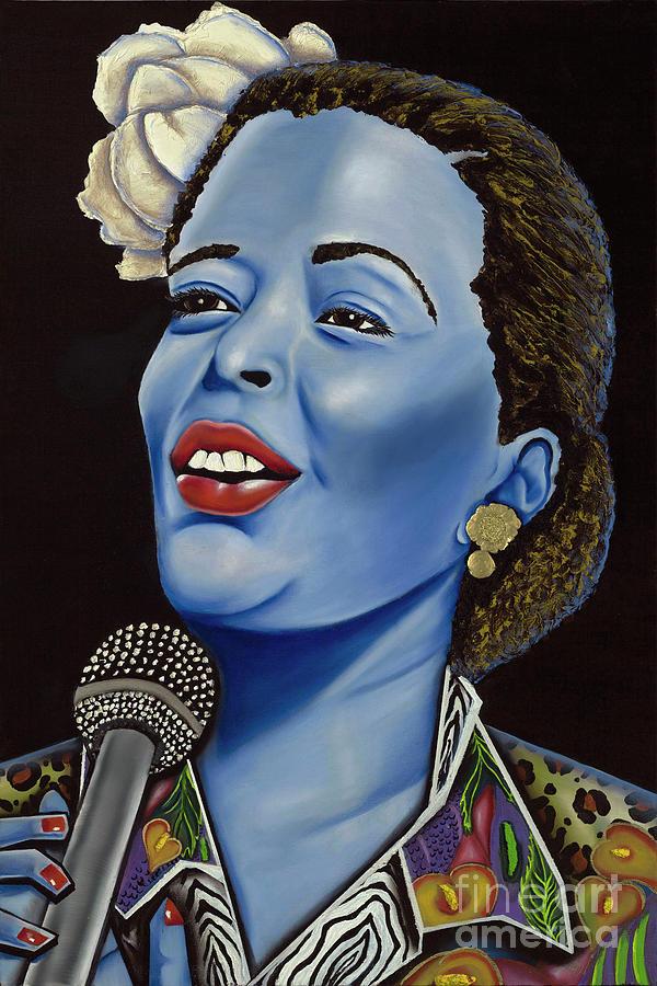 Blue People Painting - Billie by Nannette Harris