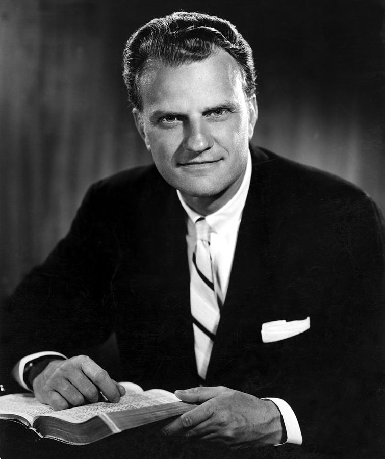 Billy Graham . Evangelist With Bible Photograph by Everett