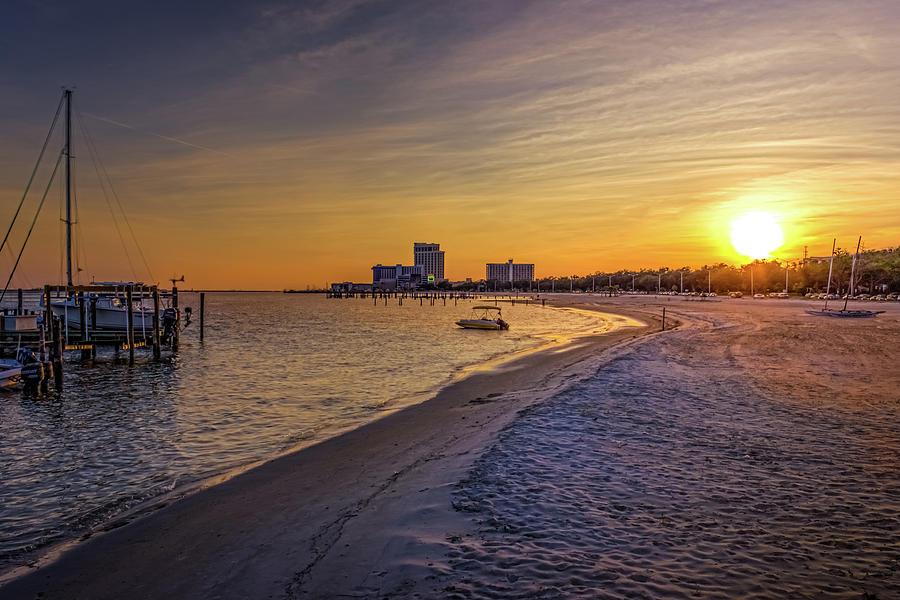 Coastal Photograph - Biloxi Beach Sunset by Barry Jones