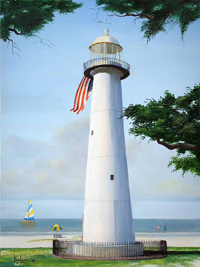 Biloxi Lighthouse Painting By Ron Landry