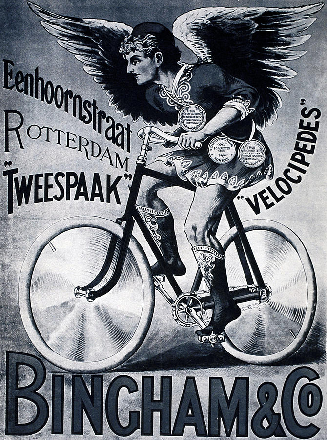 Vintage Mixed Media - Bingham And Co - Bicycle - Vintage Dutch Advertising Poster by Studio Grafiikka