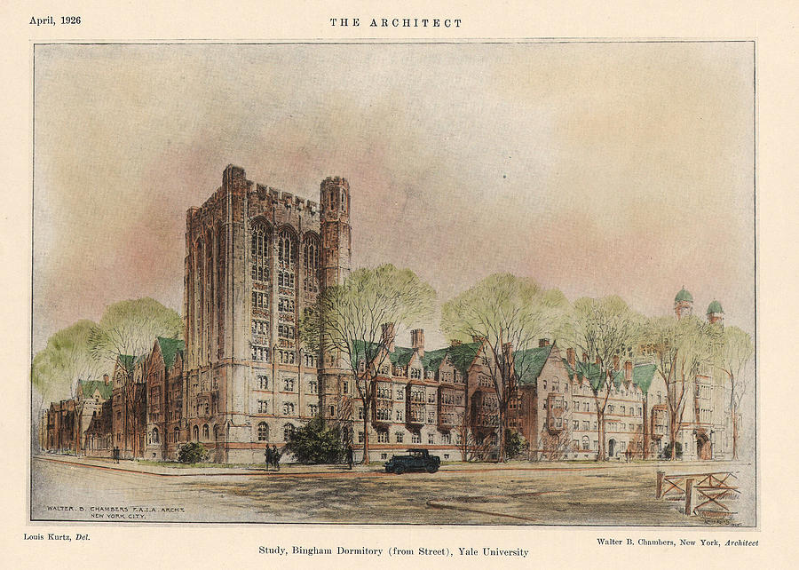 Dormitory Painting - Bingham Dormitory. Yale University. New Haven Connecticut 1926 by Walter Chambers