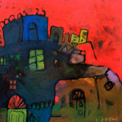 Abstract Painting - Biout Al Hilah  by Islam Kamil