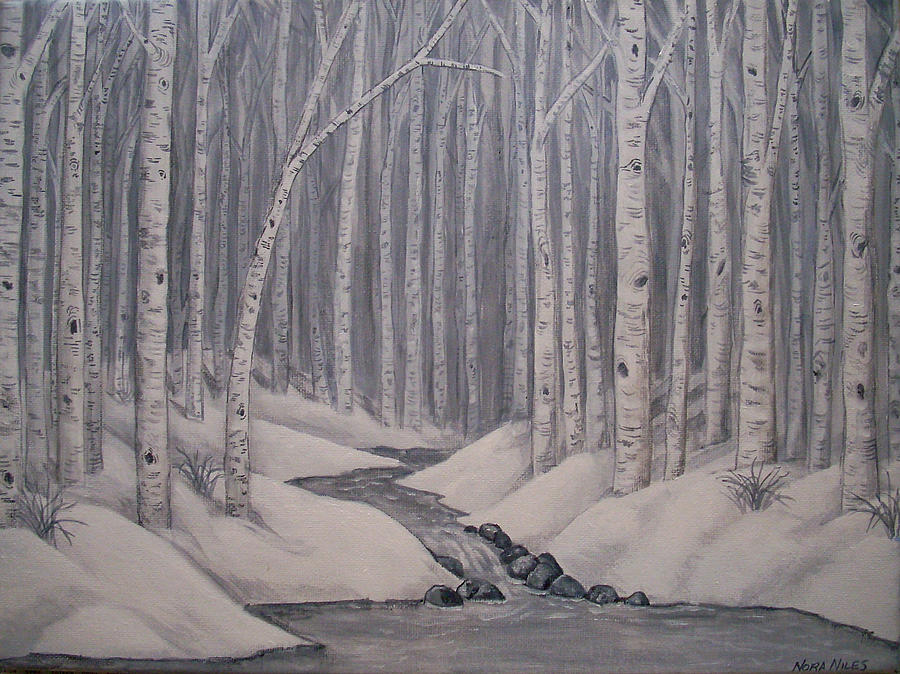 Birch Tree Painting - Birch Forest by Nora Niles