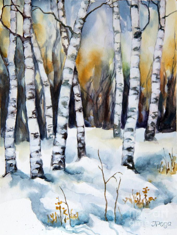 Birch Painting - The White Of Winter Birch by Inese Poga