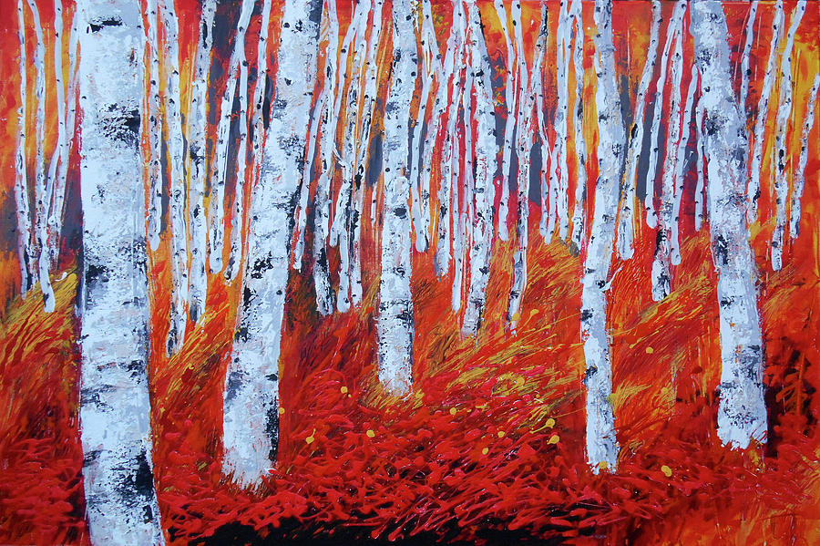 Birch In Gold Painting by Leon Zernitsky