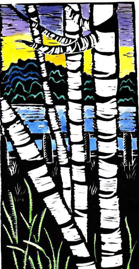 Birch Tree Painting - Birch Lake by Jane Croteau