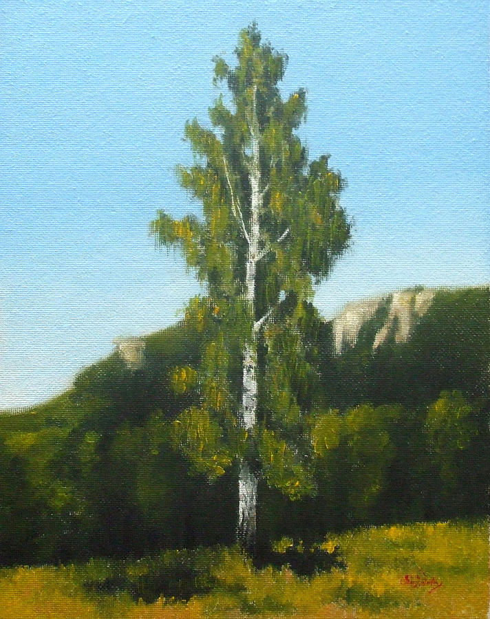 Landscape Painting - Birch Tree by Bar Valentin