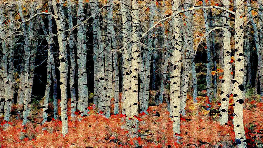 Birch Tree Forest 1 Mixed Media