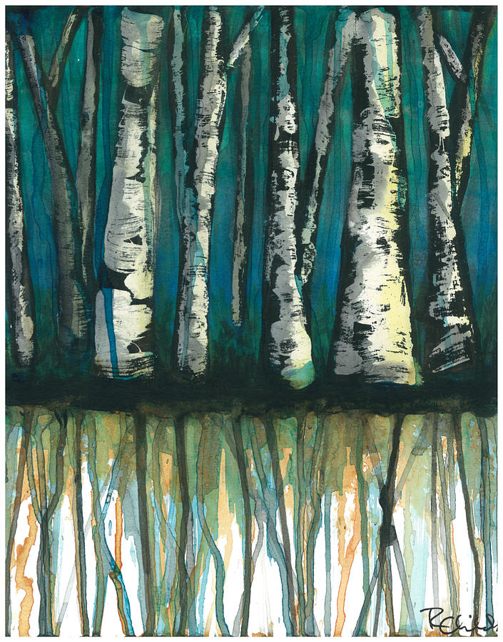 Watercolor Painting - Birch Trees #1 by Rebecca Childs