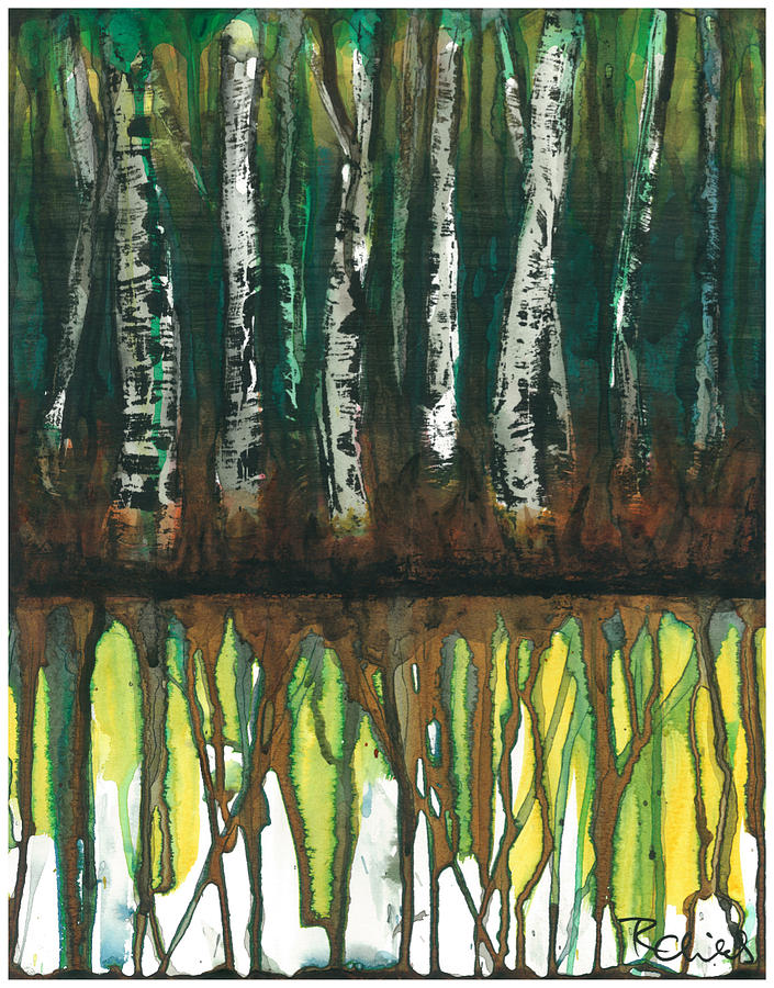 Birch Painting - Birch Trees #3 by Rebecca Childs