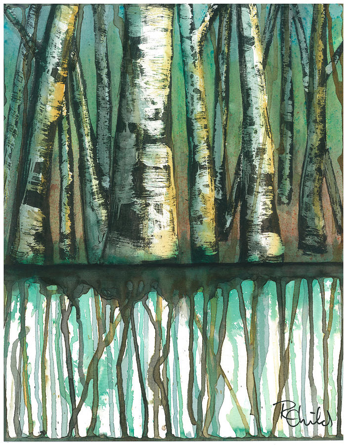 Birch Painting - Birch Trees #5 by Rebecca Childs