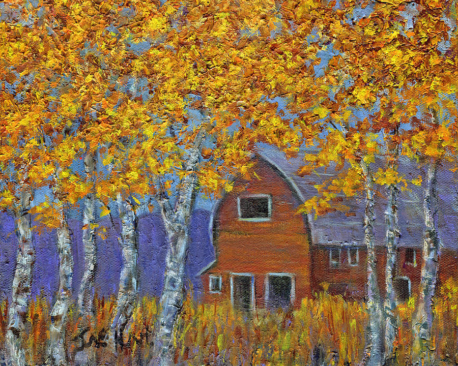 Trees Painting - Birch Trees And Barn by June Hunt