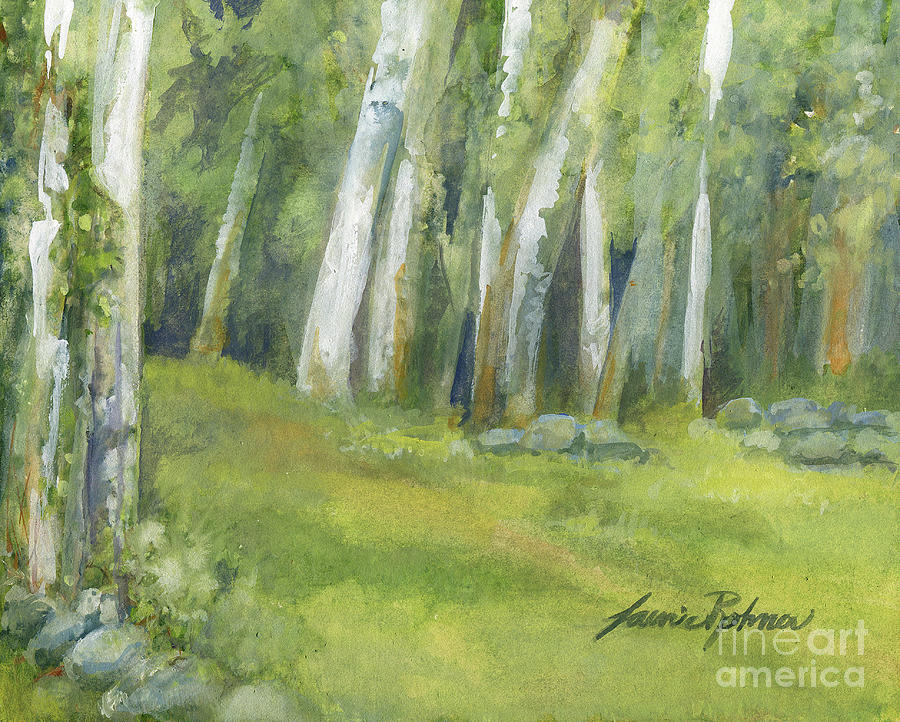 Birch Trees and Spring Field by Laurie Rohner