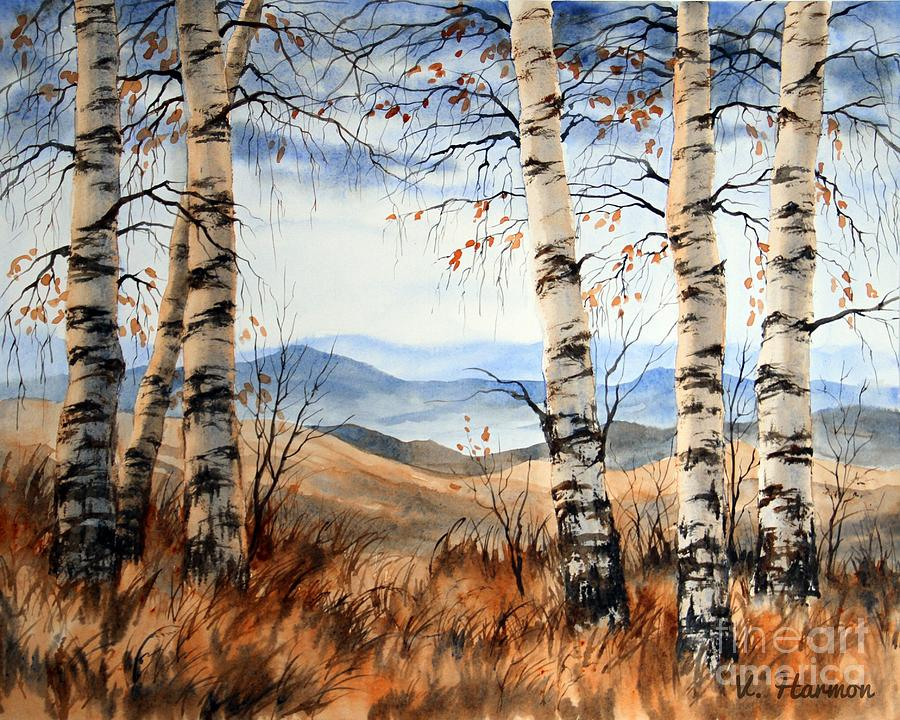 Fine Art For Sale Painting - Birch Trees At Crawford Notch -1 by Varvara Harmon