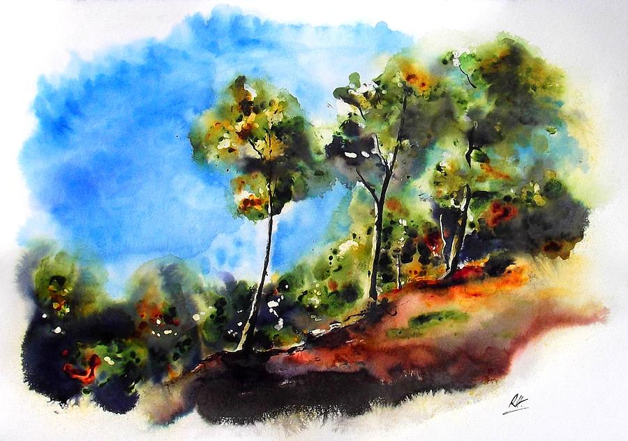 Landscape Painting - Birch trees at Swallow Falls by Richard Hoddinott