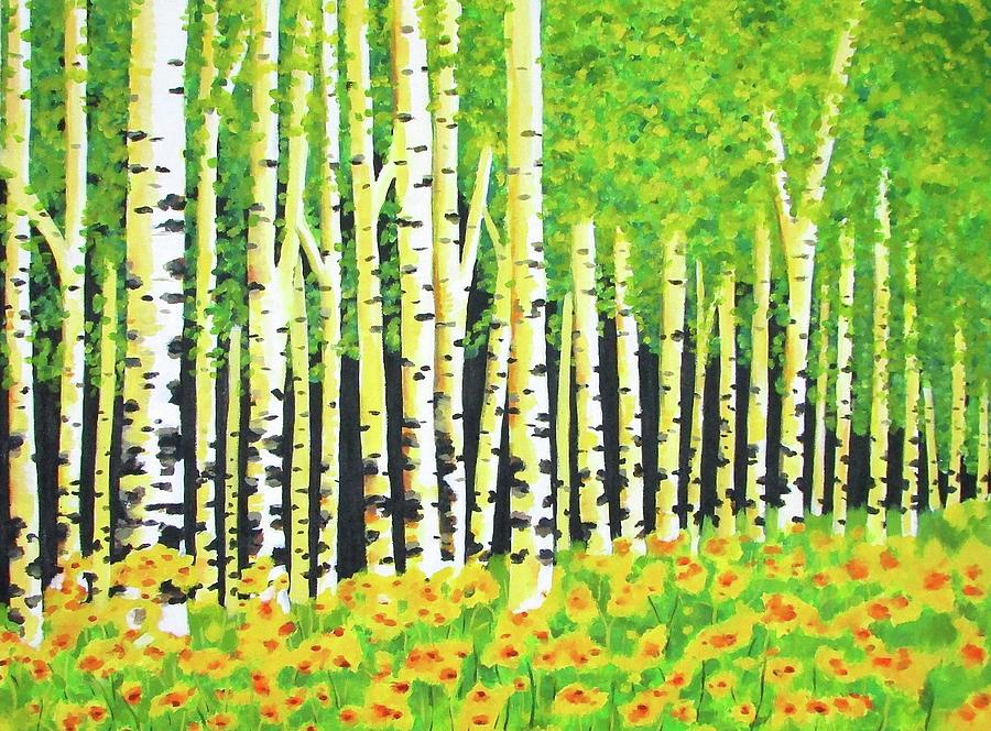 Birch Trees In Spring Painting By Staci Johnson