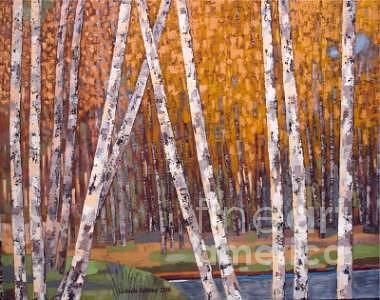 Yellow Colors Painting - Birch Trees In Yellow by Ludmila Kalinina