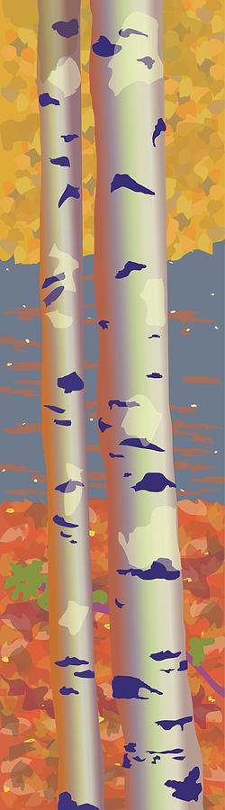Landscape Painting - Birch Trees by Marian Federspiel