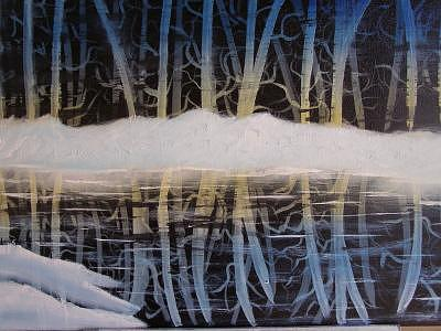 Birch Trees Reflections Painting by Sheldon Morgan