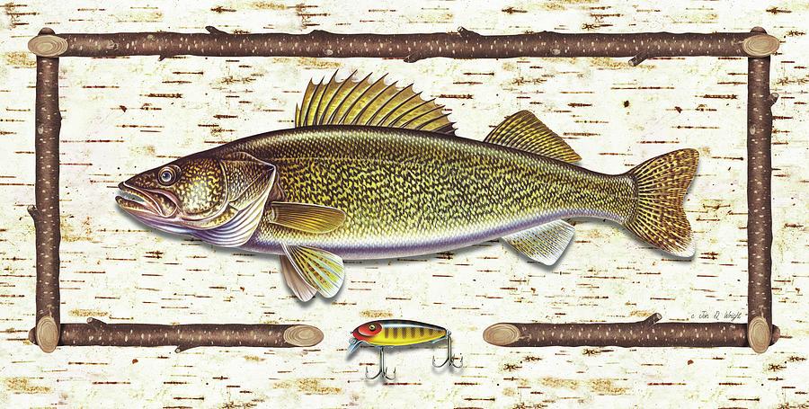 Walleye Painting - Birch Walleye by JQ Licensing