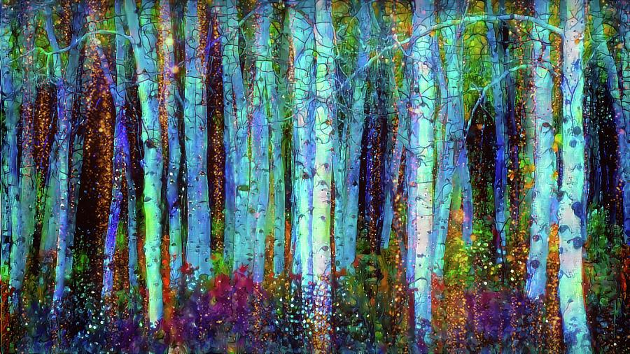 Birchwood Mixed Media - Birch Woods by Lilia D