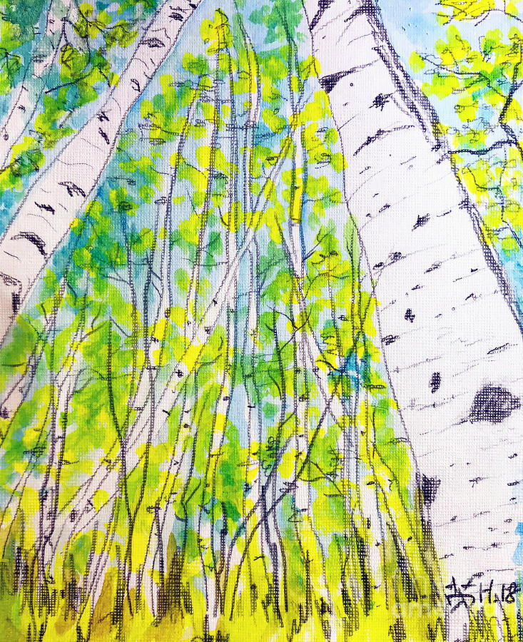 Trees Painting - In The Forest  by Wonju Hulse