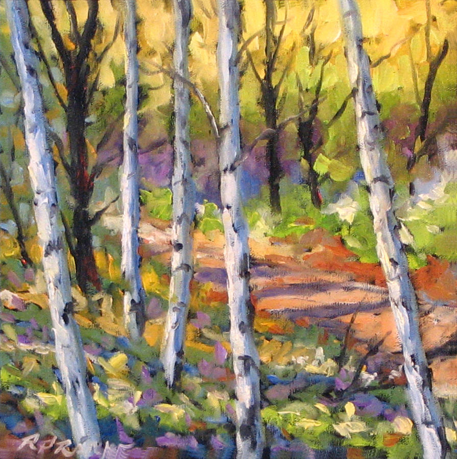 Painting Painting - Birches 02 by Richard T Pranke