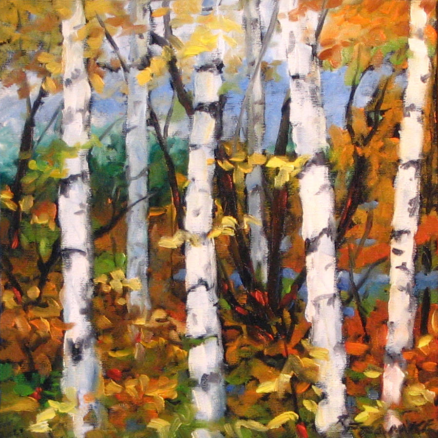 Painting Painting - Birches 03 by Richard T Pranke